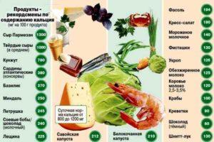 таблица продуктов, богатых кальцием