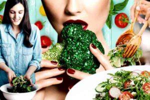 девушка и зеленые овощи