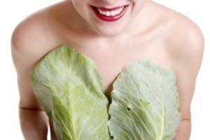 девушка закрывает груди листьями капусты