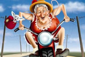 бабуля на мотоцикле