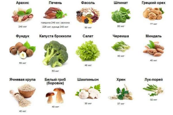 продукты с высоким содержанием витамина В9